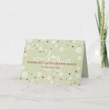 Joy Holiday Snowflakes Hearts Greeting V3 Cards
