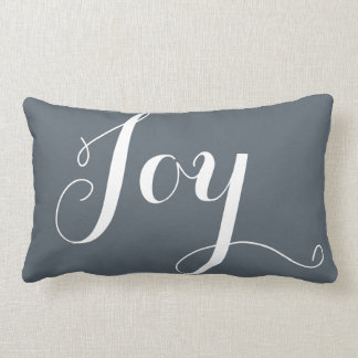 """Joy"",""Hope"" Christmas and New Year Blue Lumbar Pillow"
