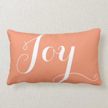"Christmas Themed ""Joy"",""Hope"" Christmas and New Year Coral Lumbar Pillow"