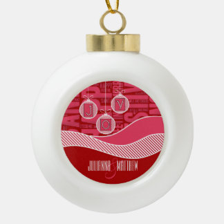 Joy in Pink and Red | Custom Ceramic Ball Christmas Ornament