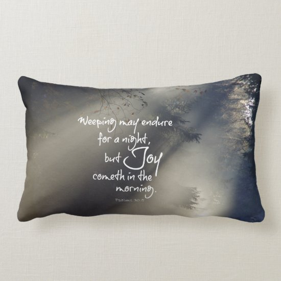 Joy in the Morning Bible Verse Lumbar Pillow