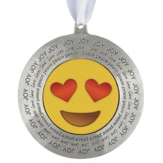 joy love and peace hearty eyes emoji ornament