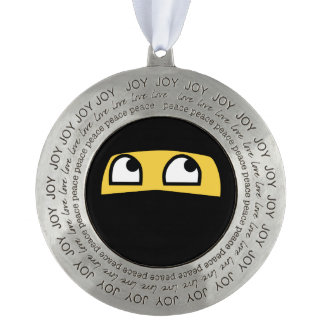 joy love and peace ninja emoji pewter ornament