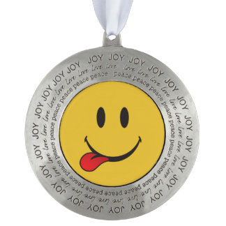 joy love and peace sticking out tongue emoji ornament