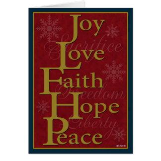 Joy Love Faith Hope Peace Christmas Card Card