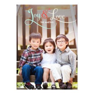 Joy & Love Holiday Photo Cards Personalized Invites