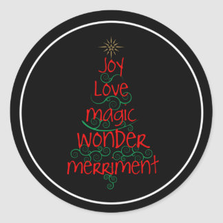 Joy • Love • Magic • Wonder • Merriment Classic Round Sticker
