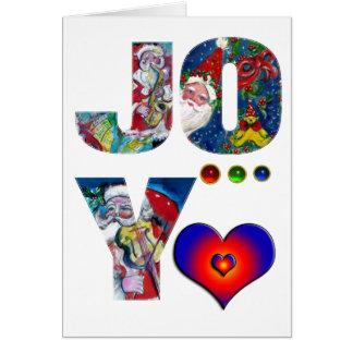 JOY LOVE  MUSICAL  XMAS PARTY / SANTA AND SAX GREETING CARD