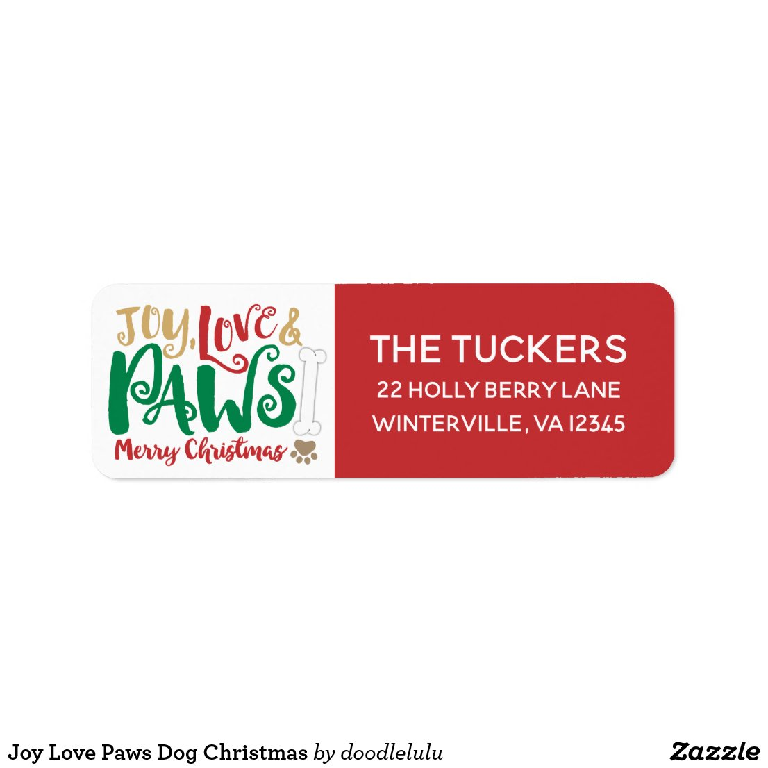 Joy Love Paws Dog Christmas Label