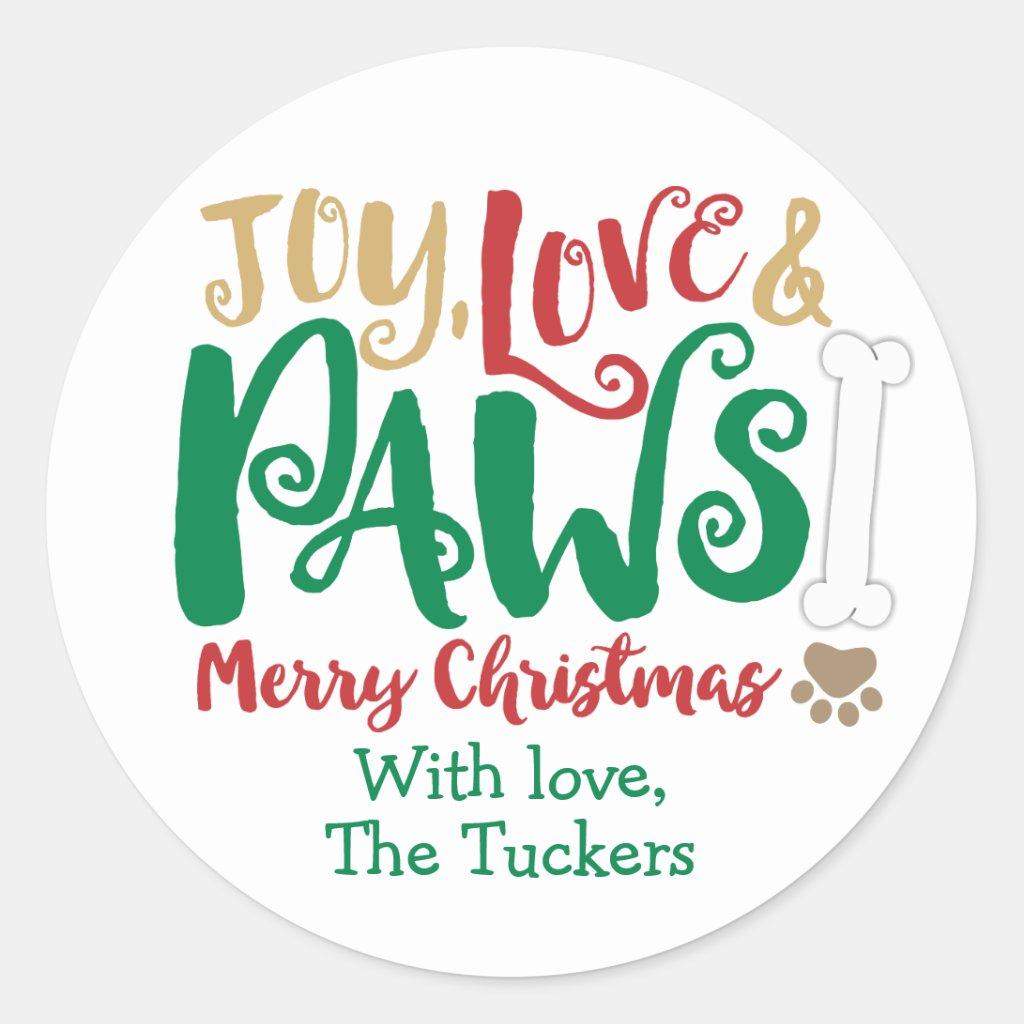 Joy Love PAWS Dog Christmas Paw prints Sticker