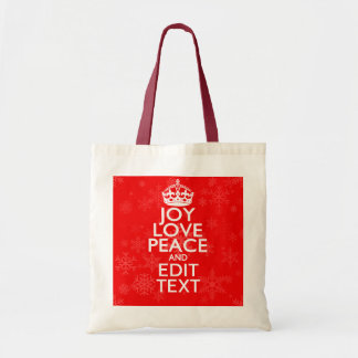 Joy Love Peace and Your Text Red Accent Snowflakes Tote Bag