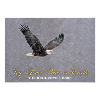 Joy Love Peace - Bald eagle flying in snowstorm Card