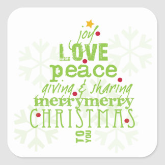 Joy, Love, Peace Christmas Envelope & Gift Sticker
