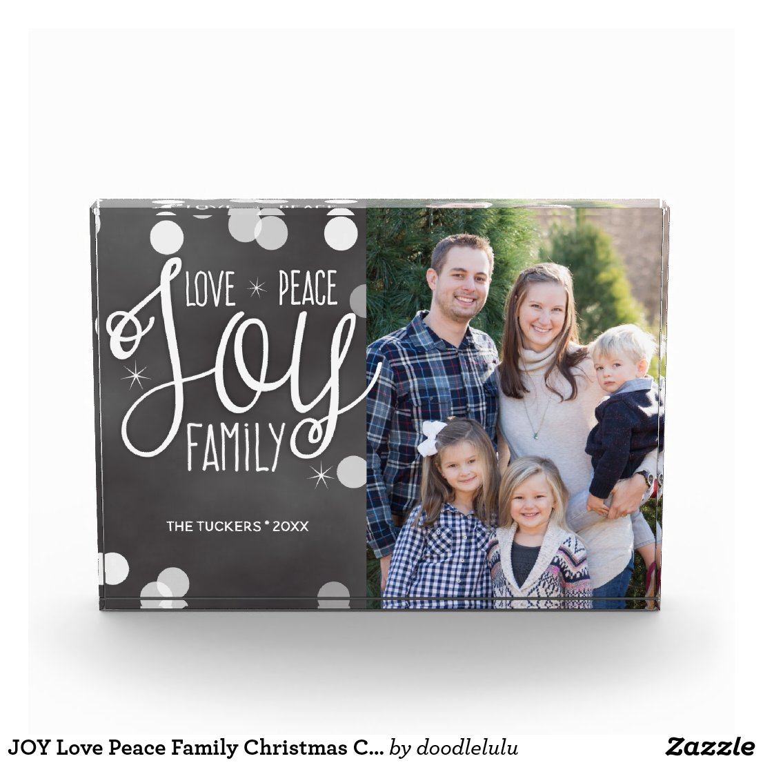 JOY Love Peace Family Christmas Chalk Photo Block