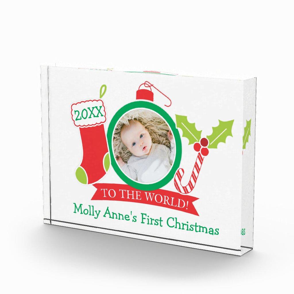JOY Love Peace Family Christmas Photo Block