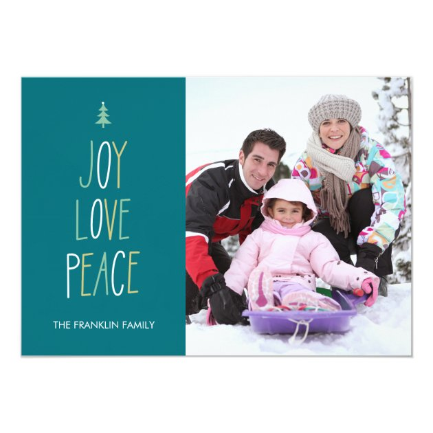 Joy, Love & Peace Hand Lettered Holiday Photo Card
