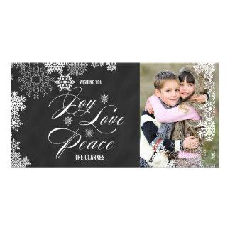 JOY LOVE PEACE HOLIDAY PHOTO CARD | CHALKBOARD