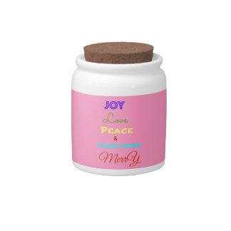 Joy Love Peace Merry Christmas Party Candy Jar