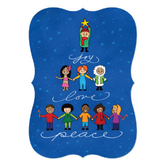 Joy Love Peace, Spirit of Christmas Children Flat Card
