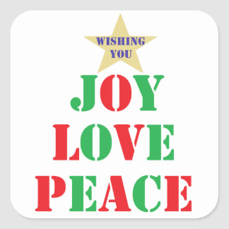 Joy, Love, Peace Square Stickers