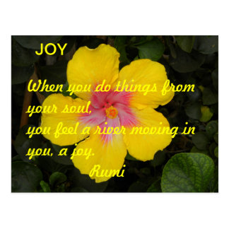 JOY Motivational Postcard Yellow Tropical Flower