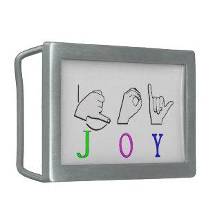JOY  NAME SIGN ASL FINGERSPELLED RECTANGULAR BELT BUCKLES