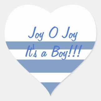 Joy O Joy, It's a boy Heart Sticker