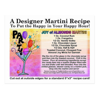 Joy of Almond Candy Martini Recipe Card Postcard