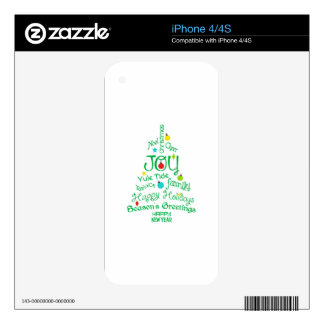 Joy Of Christmas Tree Decals For iPhone 4