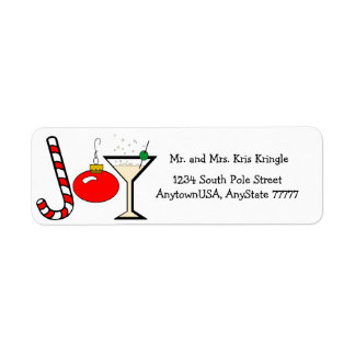 Joy Of Christmas With Red Ornament Return Address Label