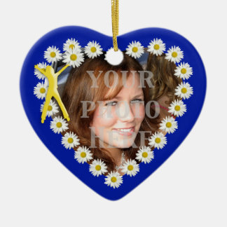 Joy of Living Daisies Heart Photo Ornament