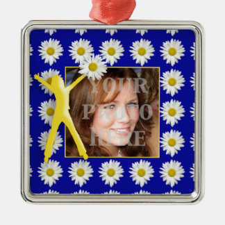 Joy of Living Daisies Photo Premium Square Ornamen Metal Ornament