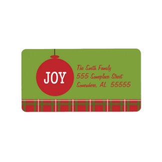 Joy Ornament Christmas Address Label