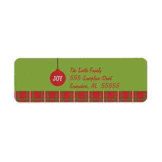 Joy Ornament Christmas Return Address Label