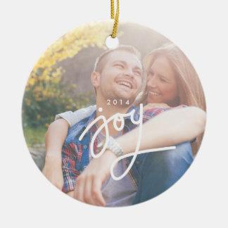 Joy overlay photo circle ornament