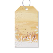 Joy | Pale Yellow Watercolor Ombre Wash Snowflakes Gift Tags