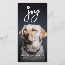 Joy Paw Print Brush Dog Lover Holiday Photo Card