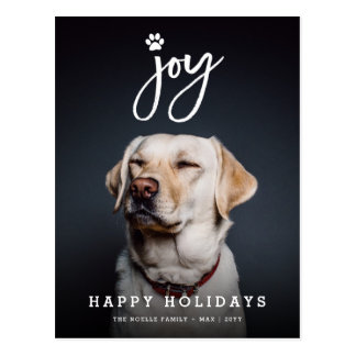 Joy Paw Print Brush Dog Lover Holiday Postcard
