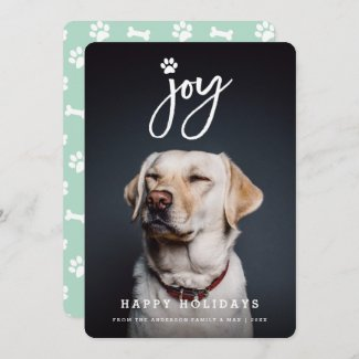 Joy Paw Print Brush Script Dog Lover Photo Pet Holiday Card