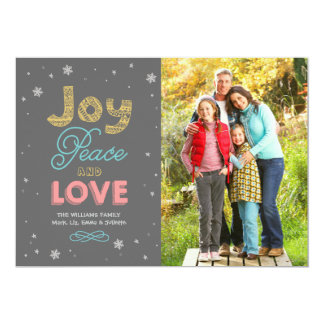 Joy Peace and Love   Holiday Photo Card