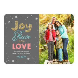 "Joy Peace and Love | Holiday Photo Card 5"" X 7"" Invitation Card"