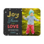 Joy Peace and Love | Holiday Photo Greeting Rectangular Photo Magnet