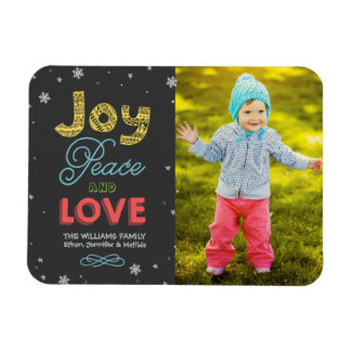 Joy Peace and Love   Holiday Photo Greeting Rectangular Photo Magnet