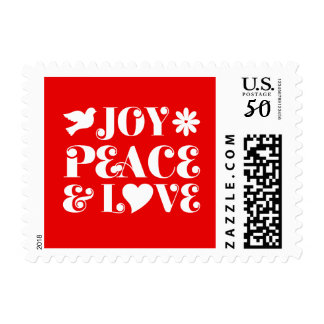 Joy Peace and Love Red Christmas Postage