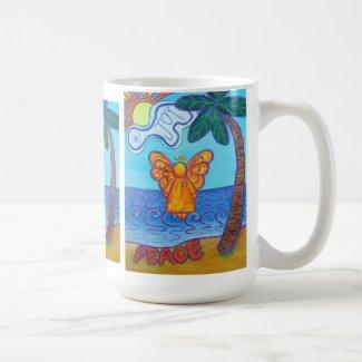 Joy & Peace Beach Angel Art Mug