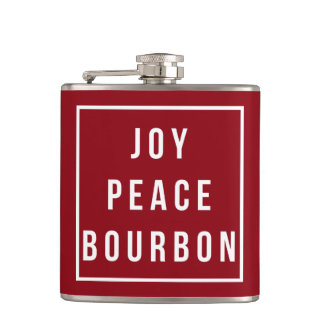 Joy Peace Bourbon   Red & White Funny Holiday Flask