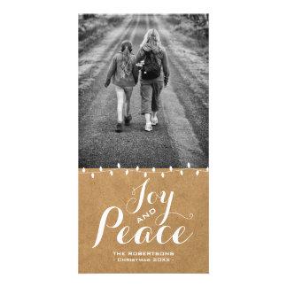 Joy & Peace Christmas Wishes Photo Paper Lights v2 Card