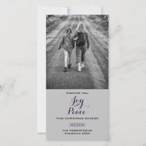 Joy & Peace - Christmas Wishes Photo - Purple Holiday Card