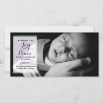 Joy & Peace - Christmas Wishes Photo - Purple v3 Holiday Card