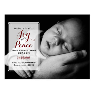 Joy & Peace - Christmas Wishes Photo - Red Postcard